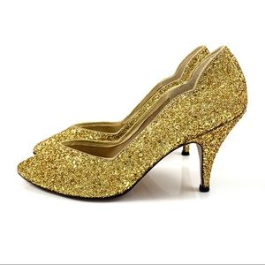 50s metallic gold glitter pumps by DOLCE BY PIERRE